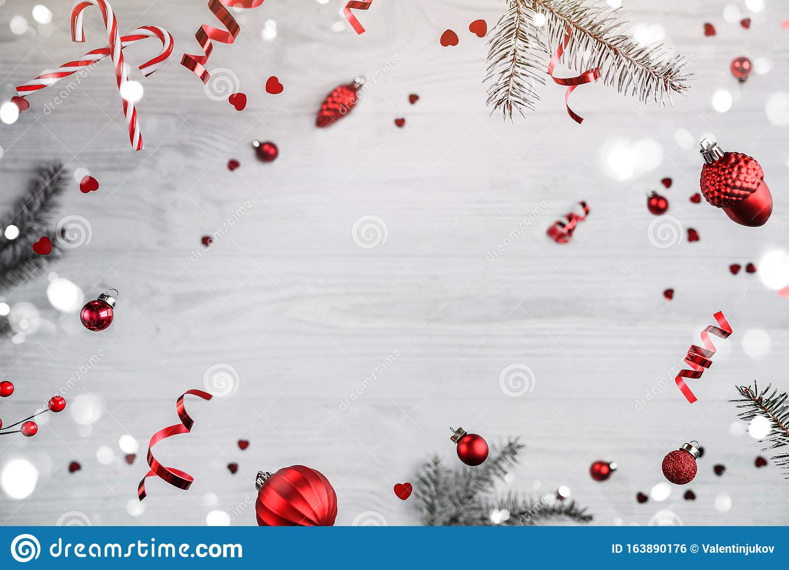 Merry Christmas and New Year background. Xmas holiday card made of flying decorations,