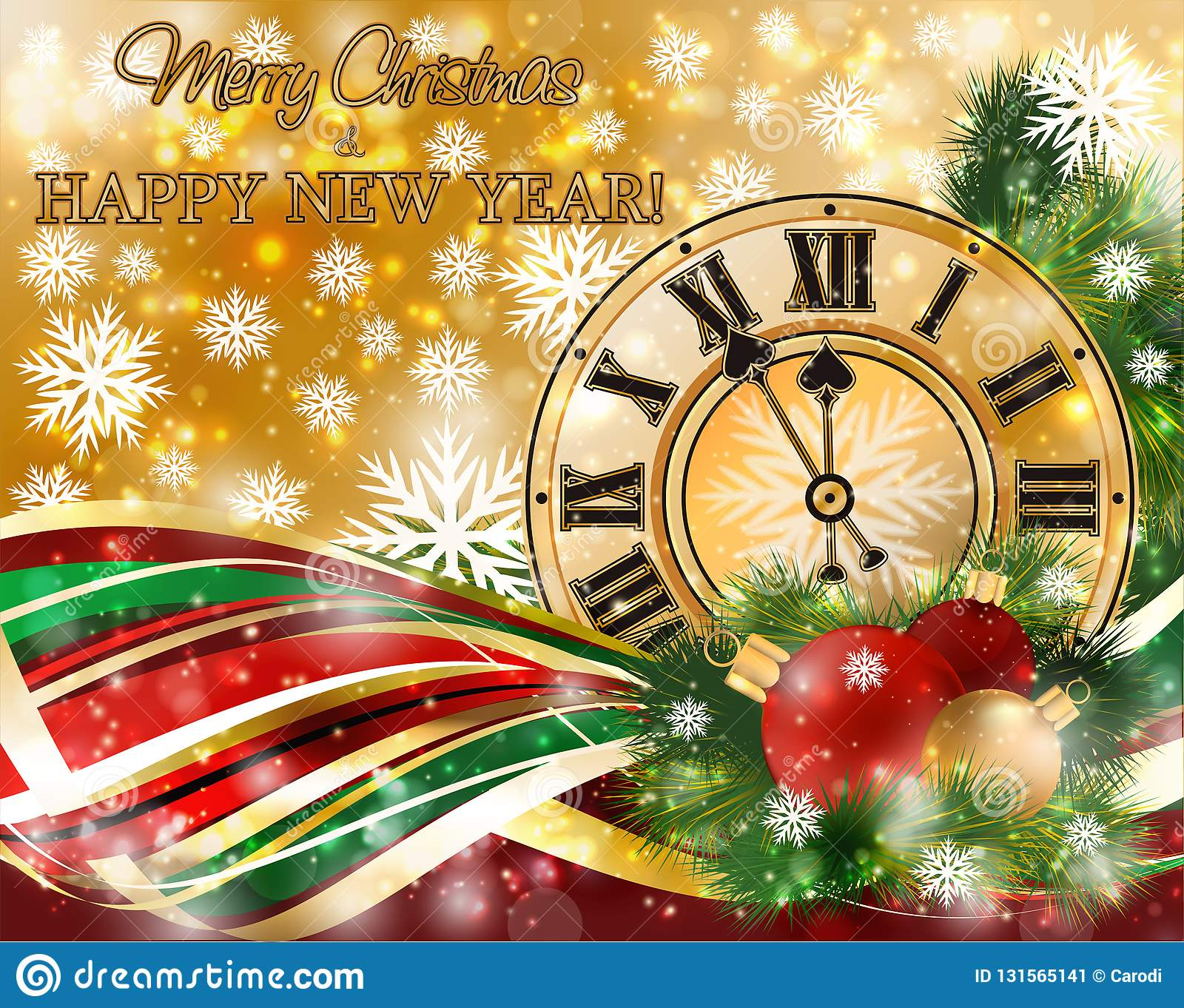 merry christmas new year banner with xmas clock