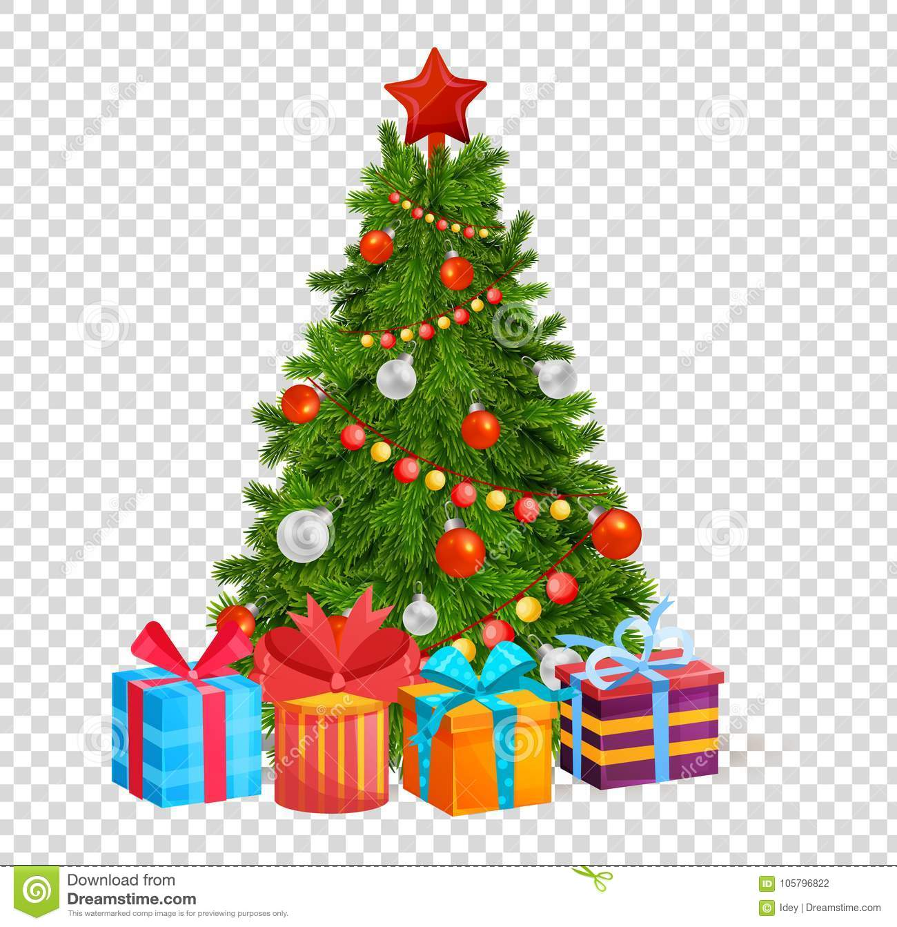 Christmas Tree With Beautiful Balls, Decorations. Gifts Under ...