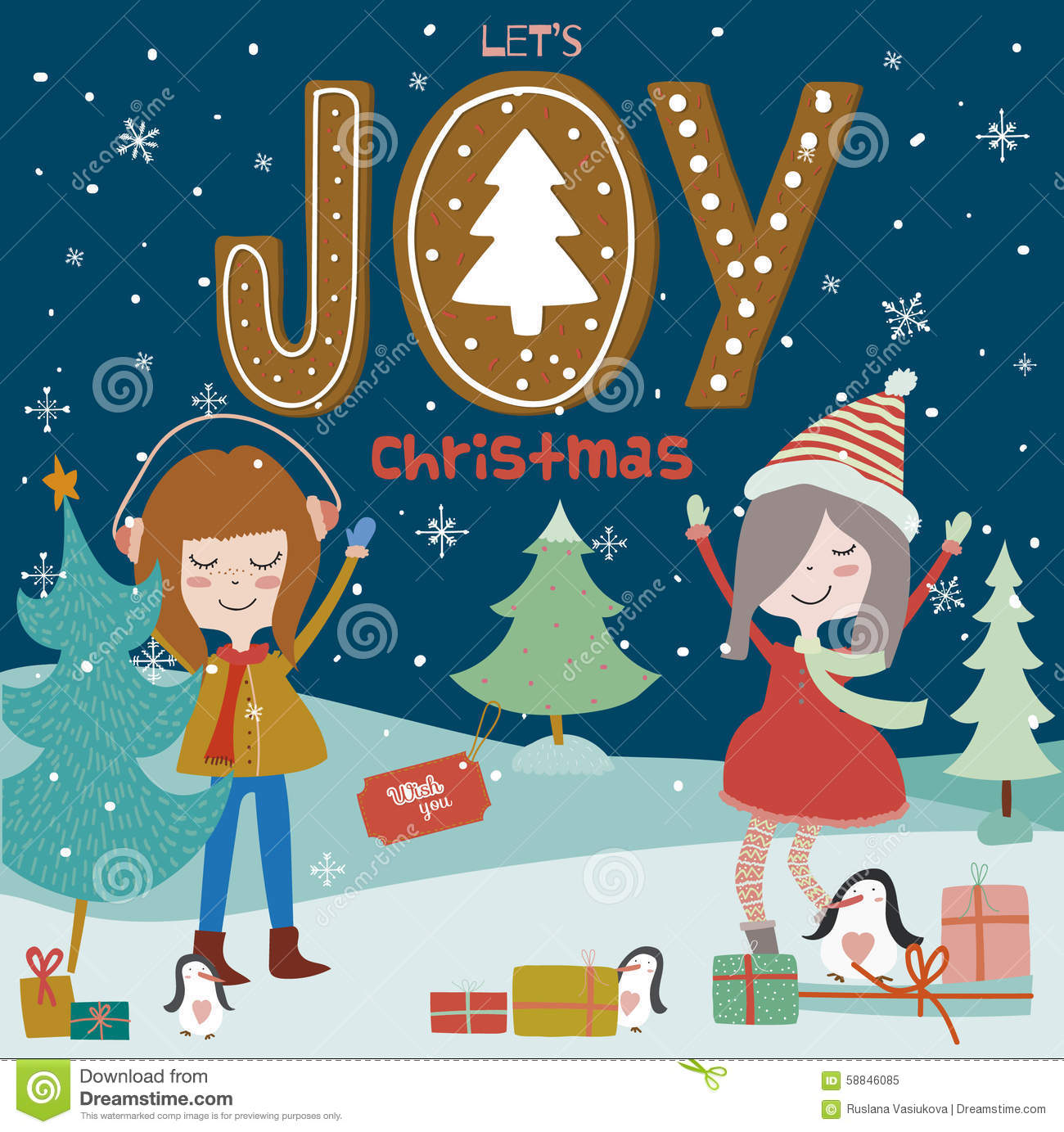 0d678057e1913 Stylish and bright Merry Christmas and New Year card in vector. Funny and  smiling girls dancing at night in the snow. Winter holiday background with  cute ...