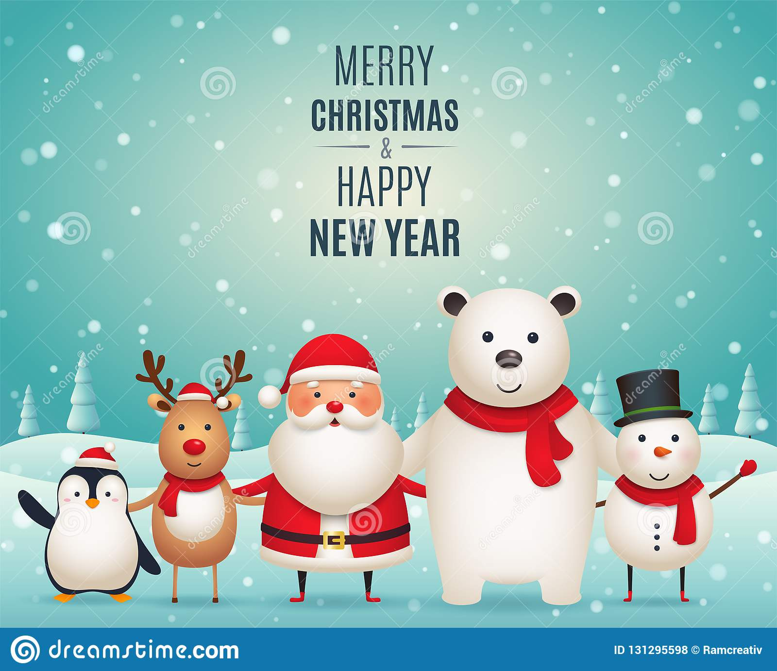 merry christmas new year companions cute christmas animals penguin deer santa claus white