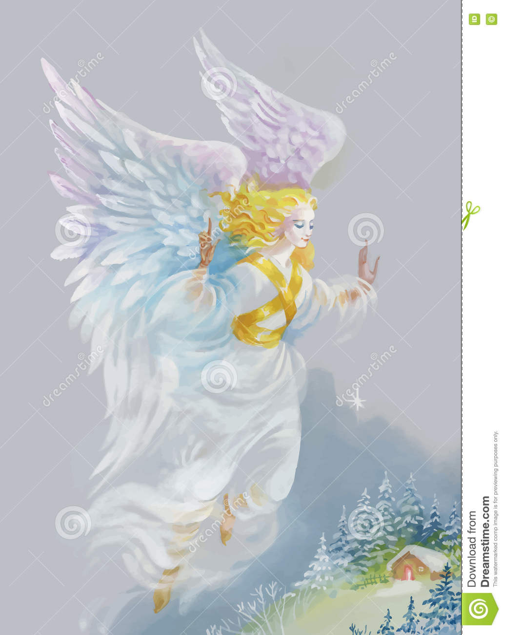 merry christmas and new year greeting card with beautiful angel with wings watercolor illustration