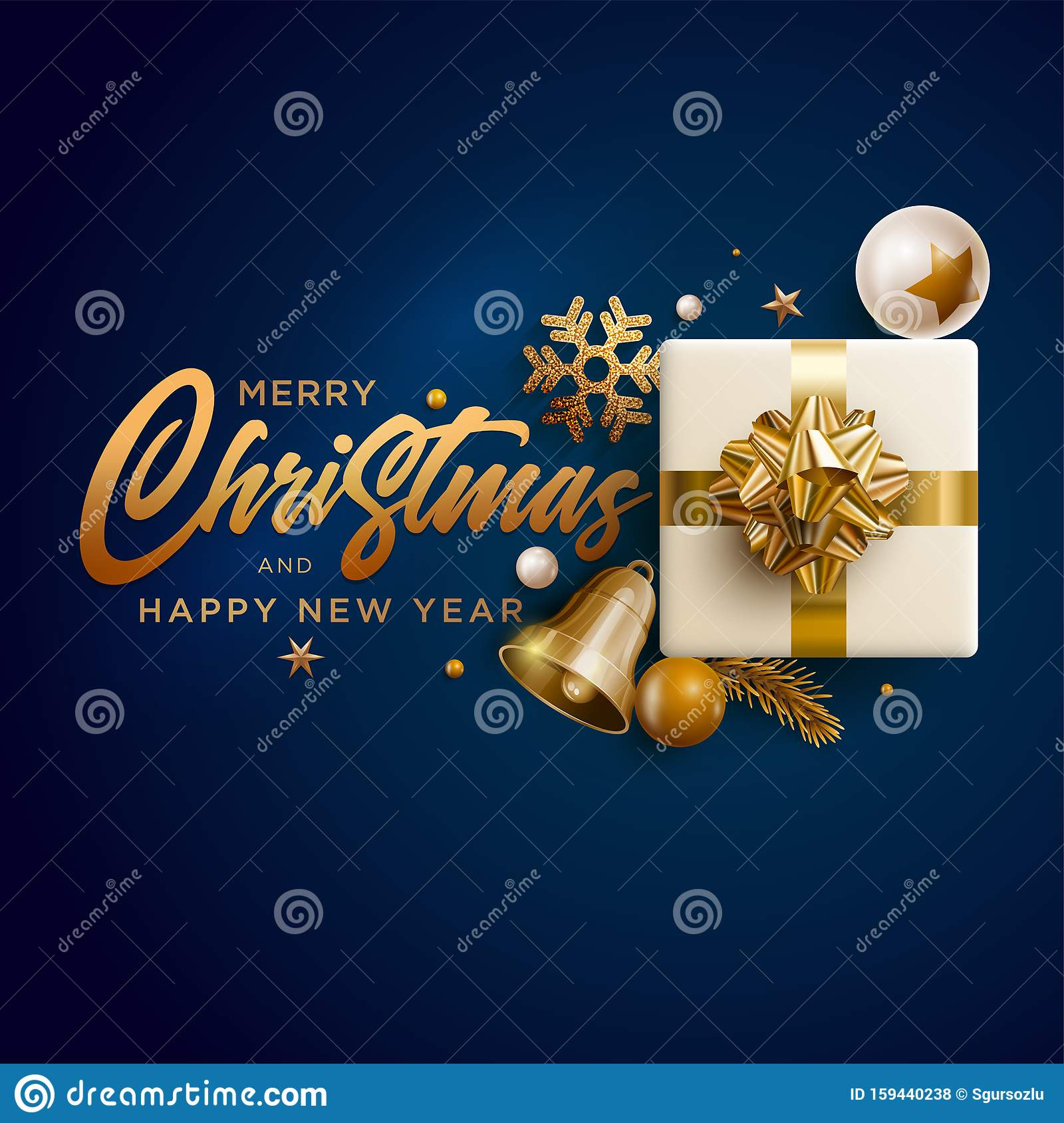 Merry Christmas And New Year Greeting Card Design Stock ...