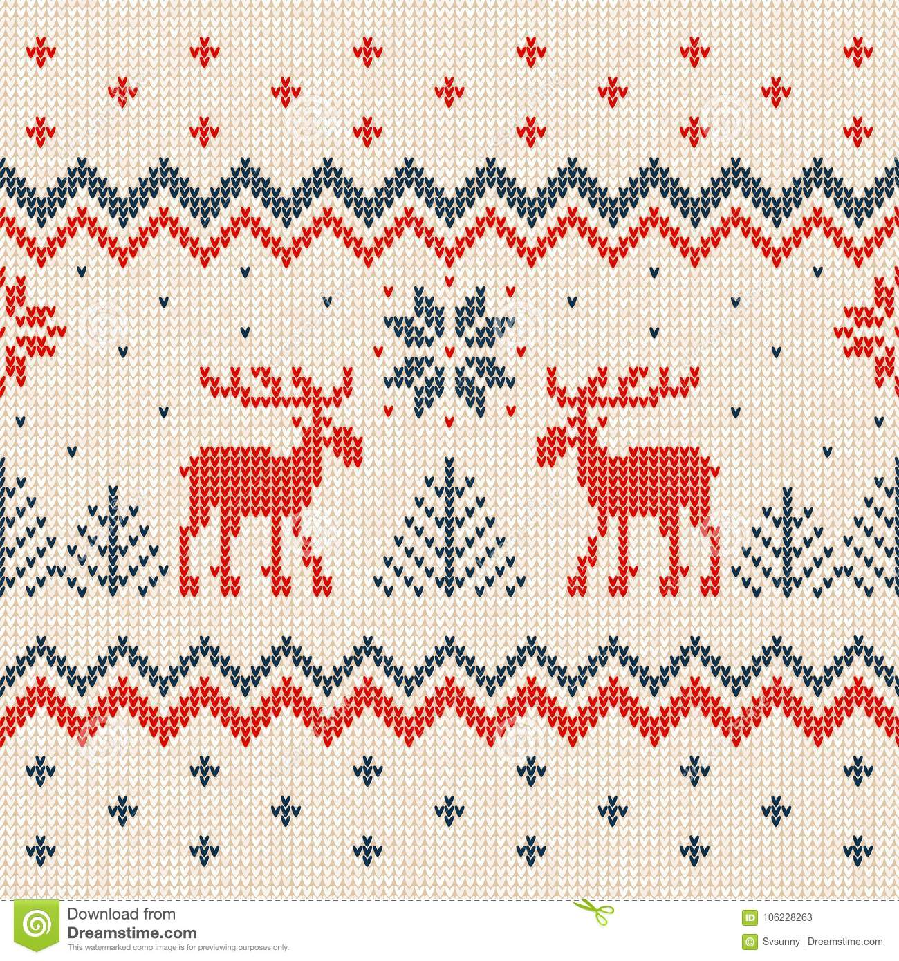 ugly sweater merry christmas and happy new year greeting card frame border template vector illustration seamless knitted background pattern deers