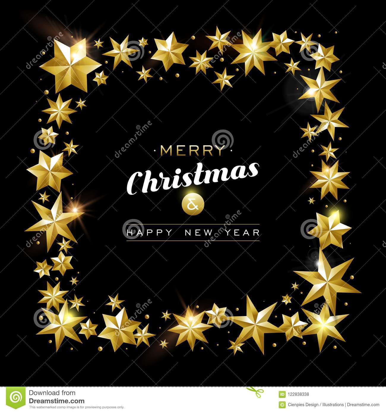 christmas and new year gold star frame card design