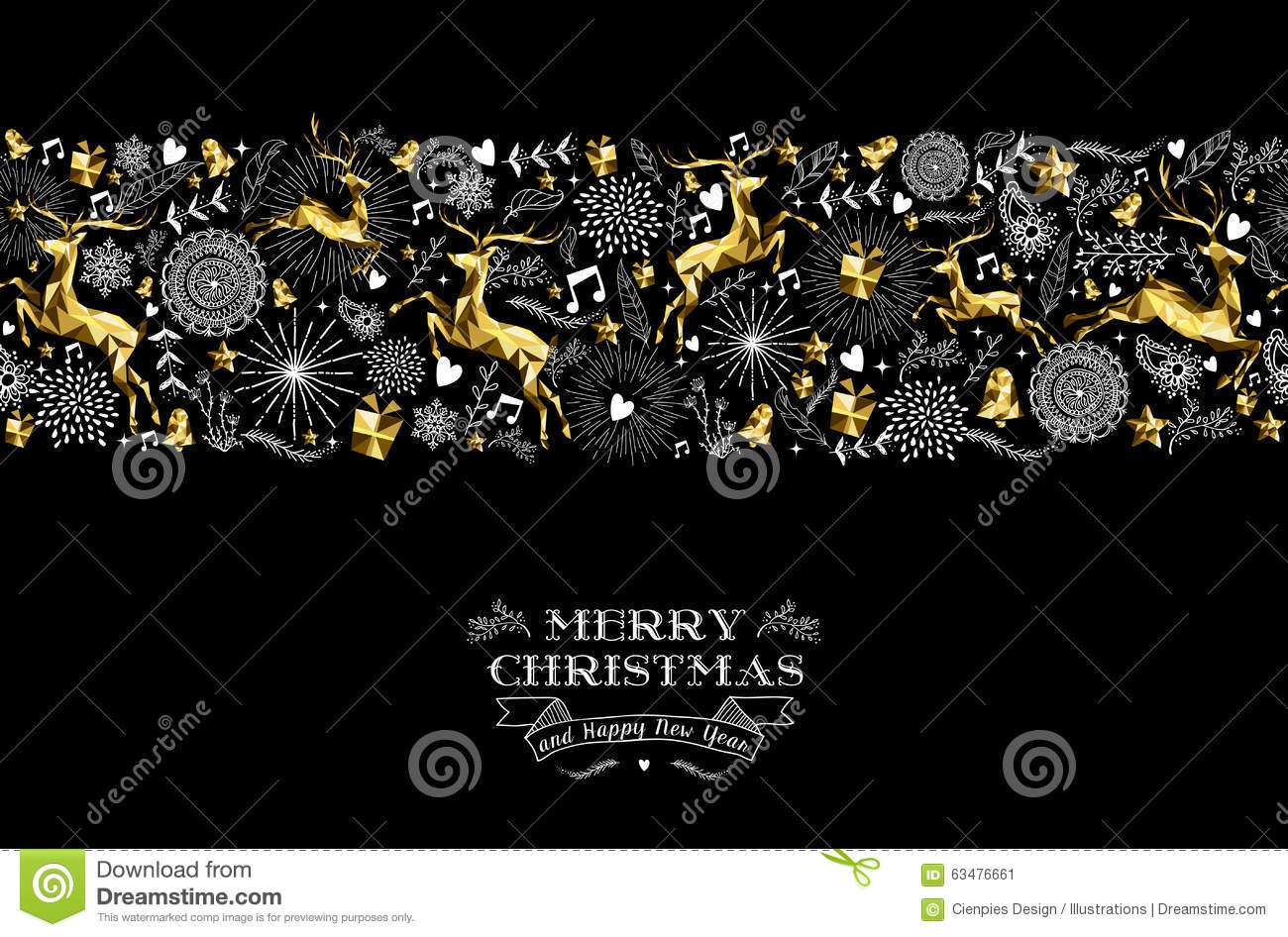 merry christmas new year label pattern gold deer