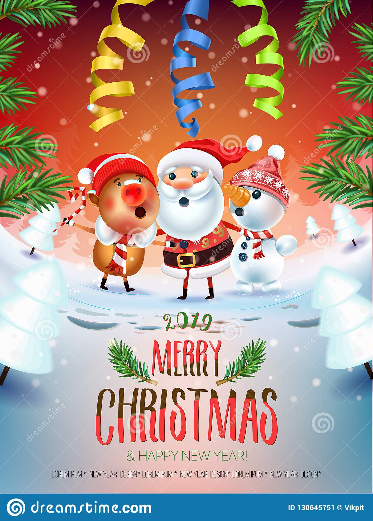 2019 merry christmas new year poster santa claus snowman and symbol of 2019 year pig stock vector illustration of cartoon letter 130645751 https www dreamstime com merry christmas new year poster santa claus snowman symbol pig sing song around tree snowy meadow invitation card image130645751