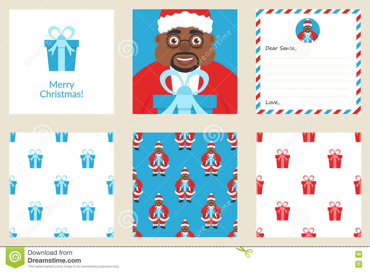 merry christmas and new year set greeting card includes holiday seamless patterns cute