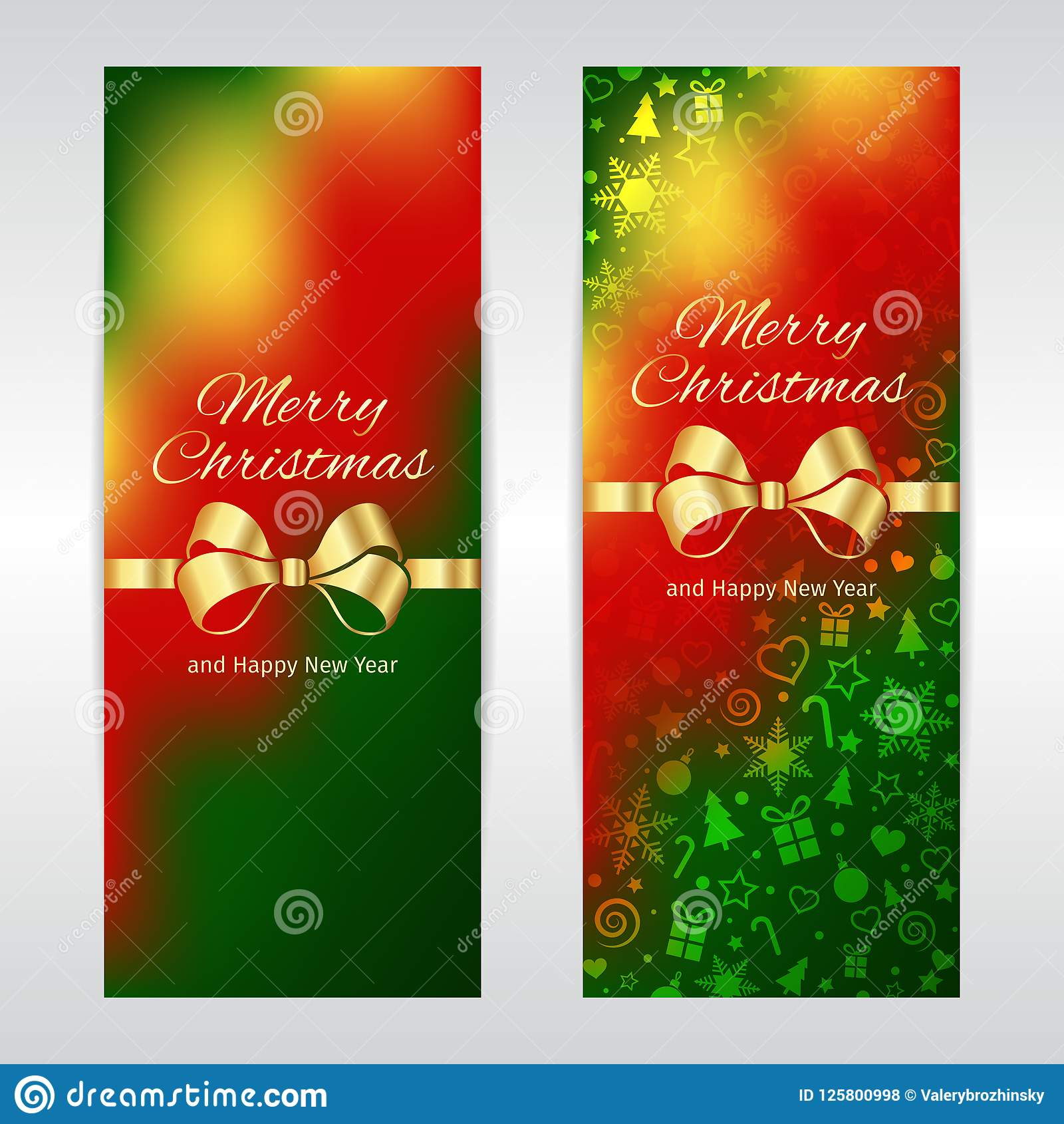 merry christmas new year vertical vector banners green red yellow template background with golden ribbon