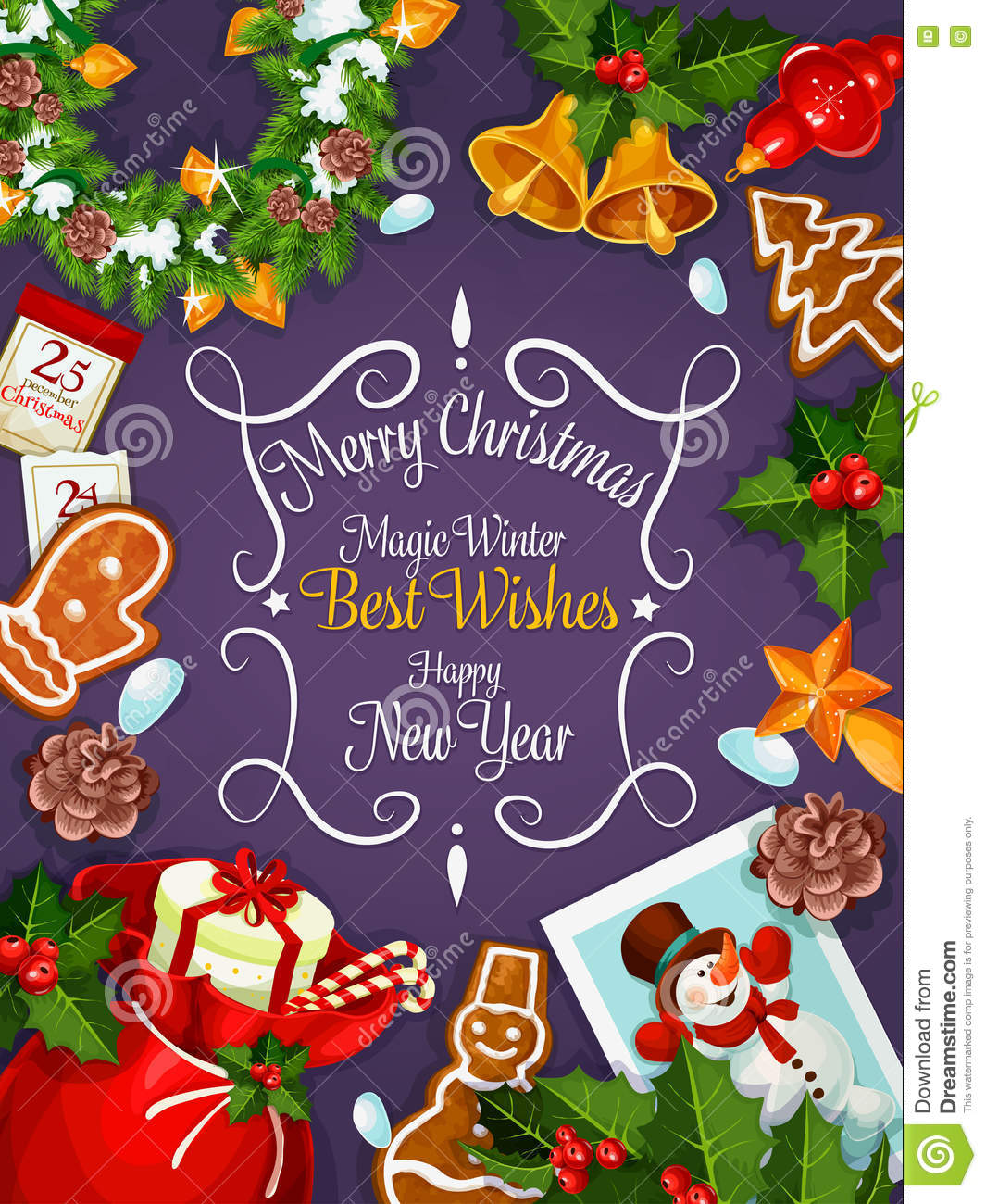 Merry christmas new year wishes card poster stock vector merry christmas new year wishes card poster m4hsunfo