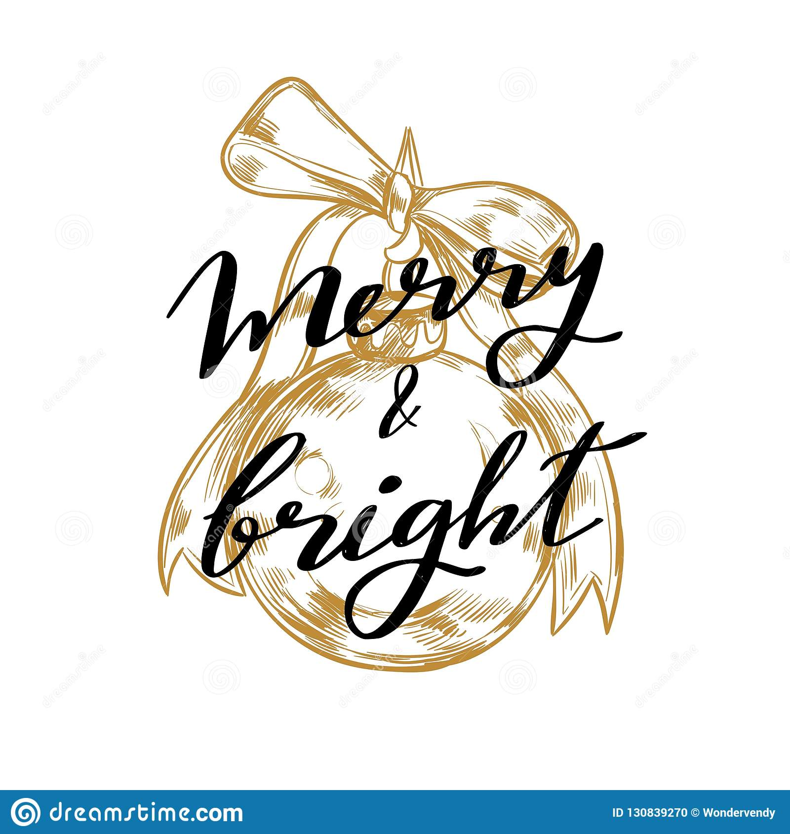 Merry Christmas and New Year words on Christmas tree decoration. Vector hand drawn