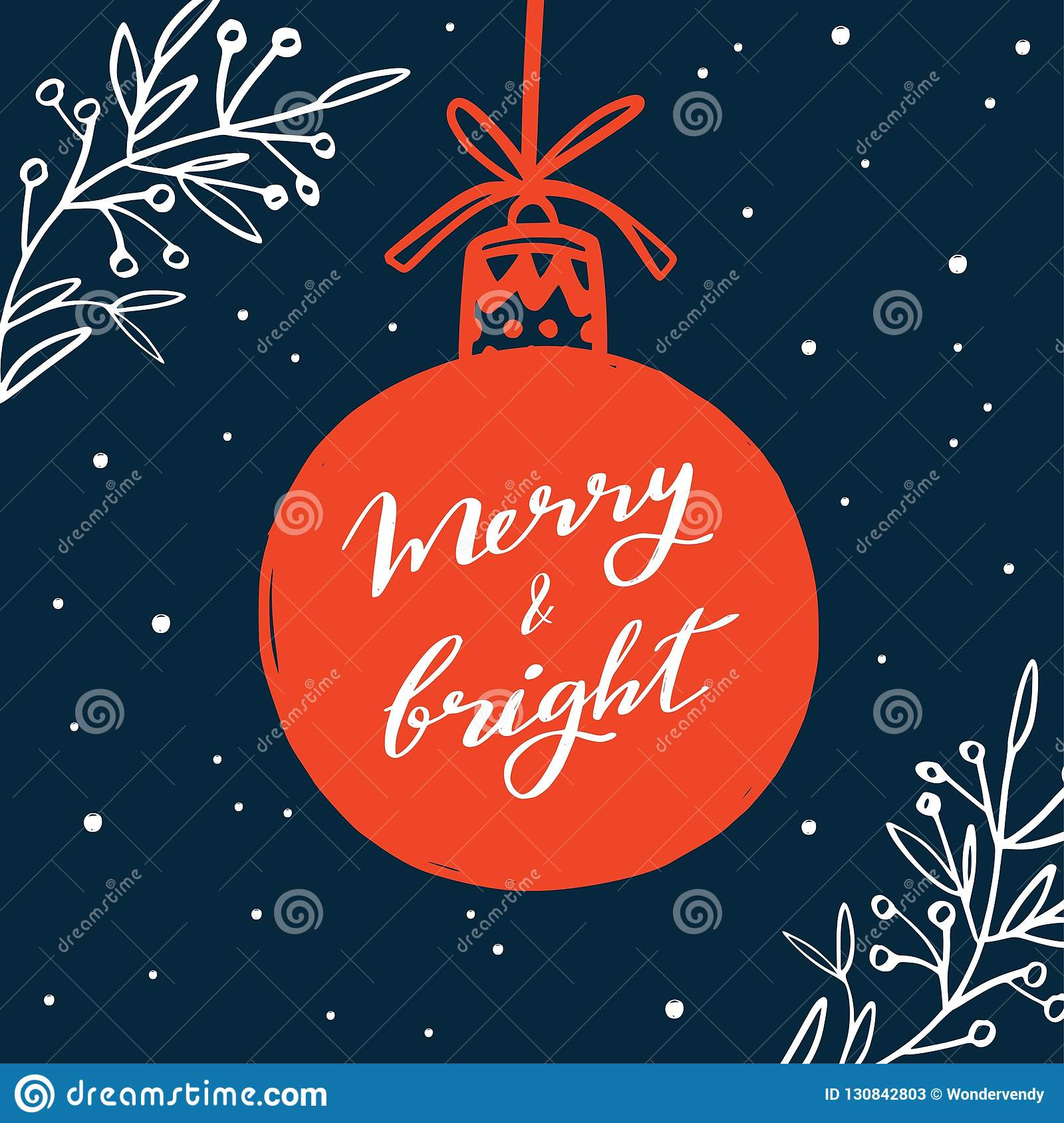 Merry Christmas and New Year words on Christmas tree decoration. Vector