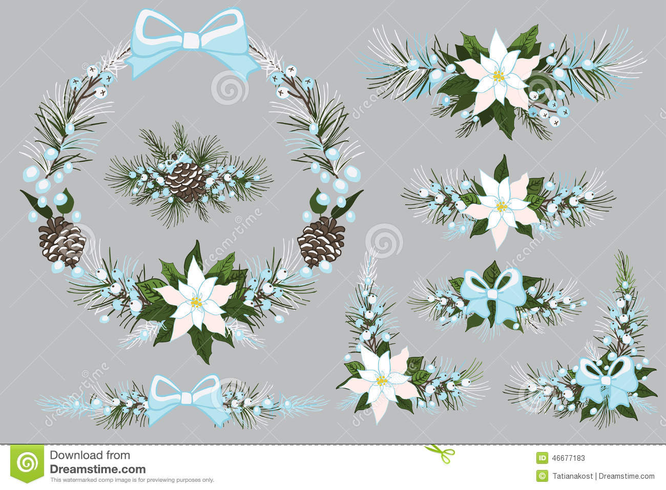 merry christmas and new year wreathgroupborder