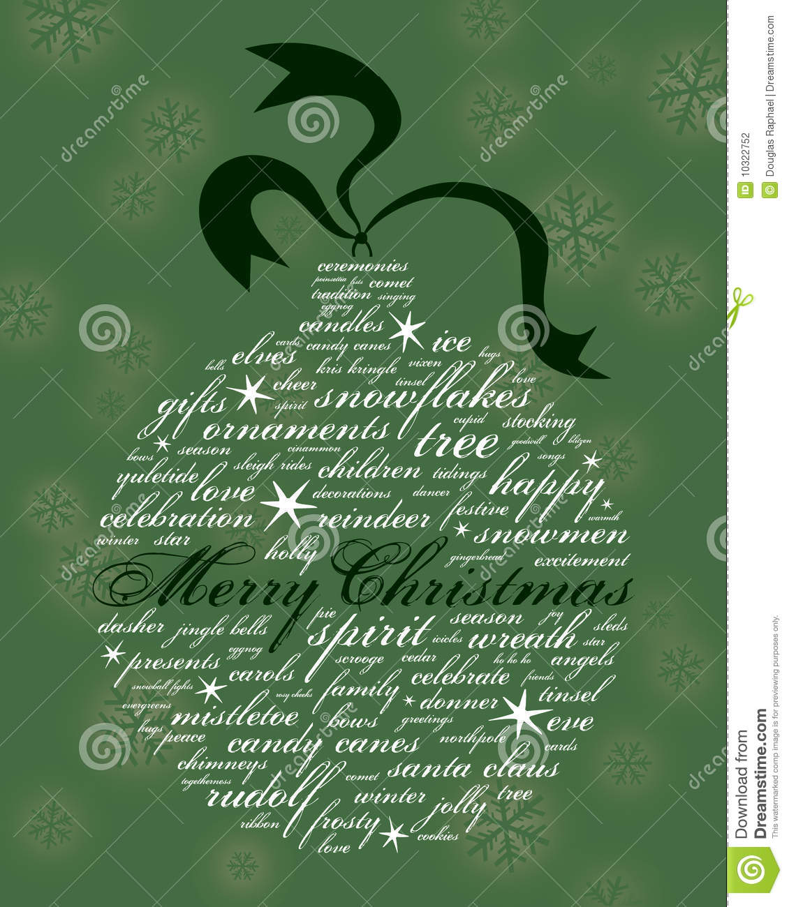Merry christmas and other holiday words in the shape of an ornament on