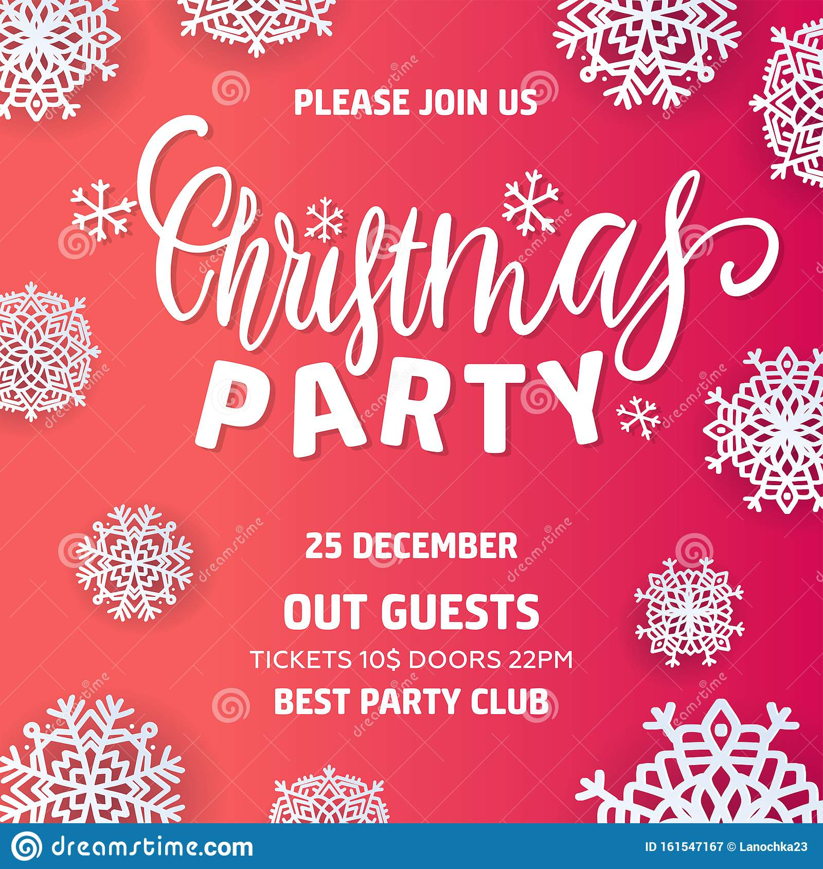 merry christmas party invitation and happy new year party