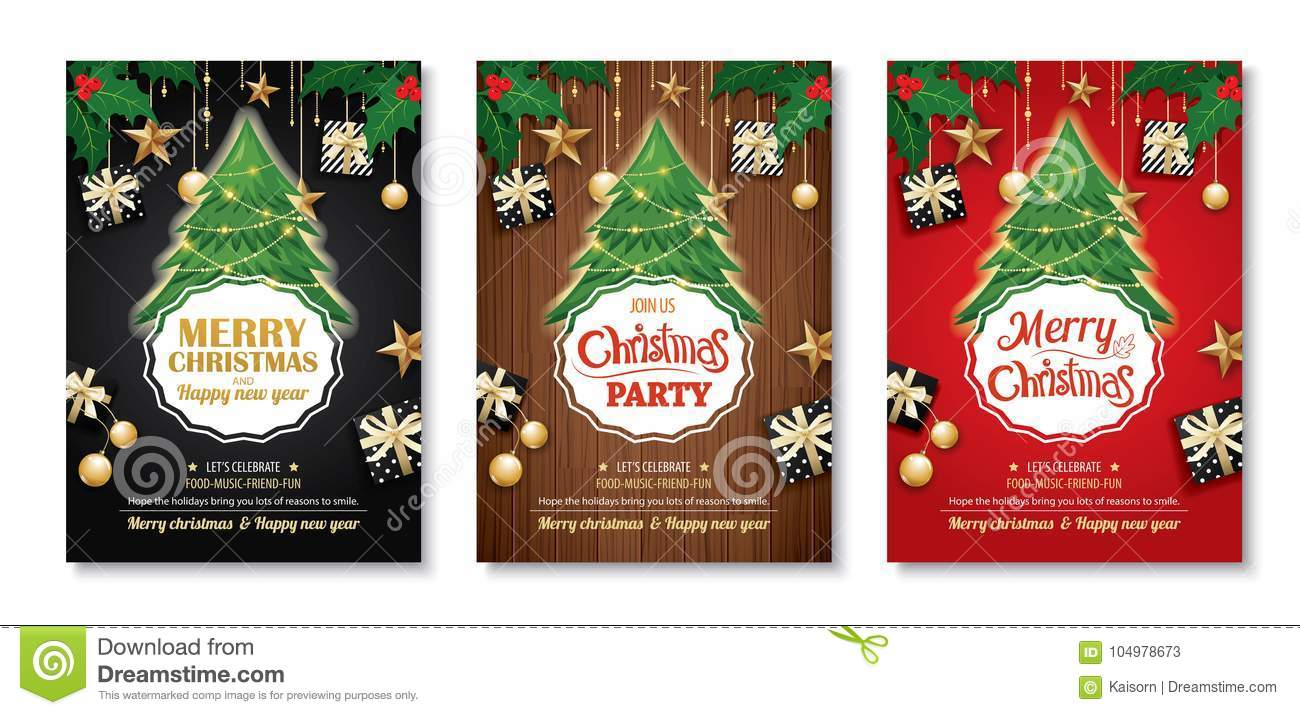 merry christmas party and tree on background invitation theme co download preview
