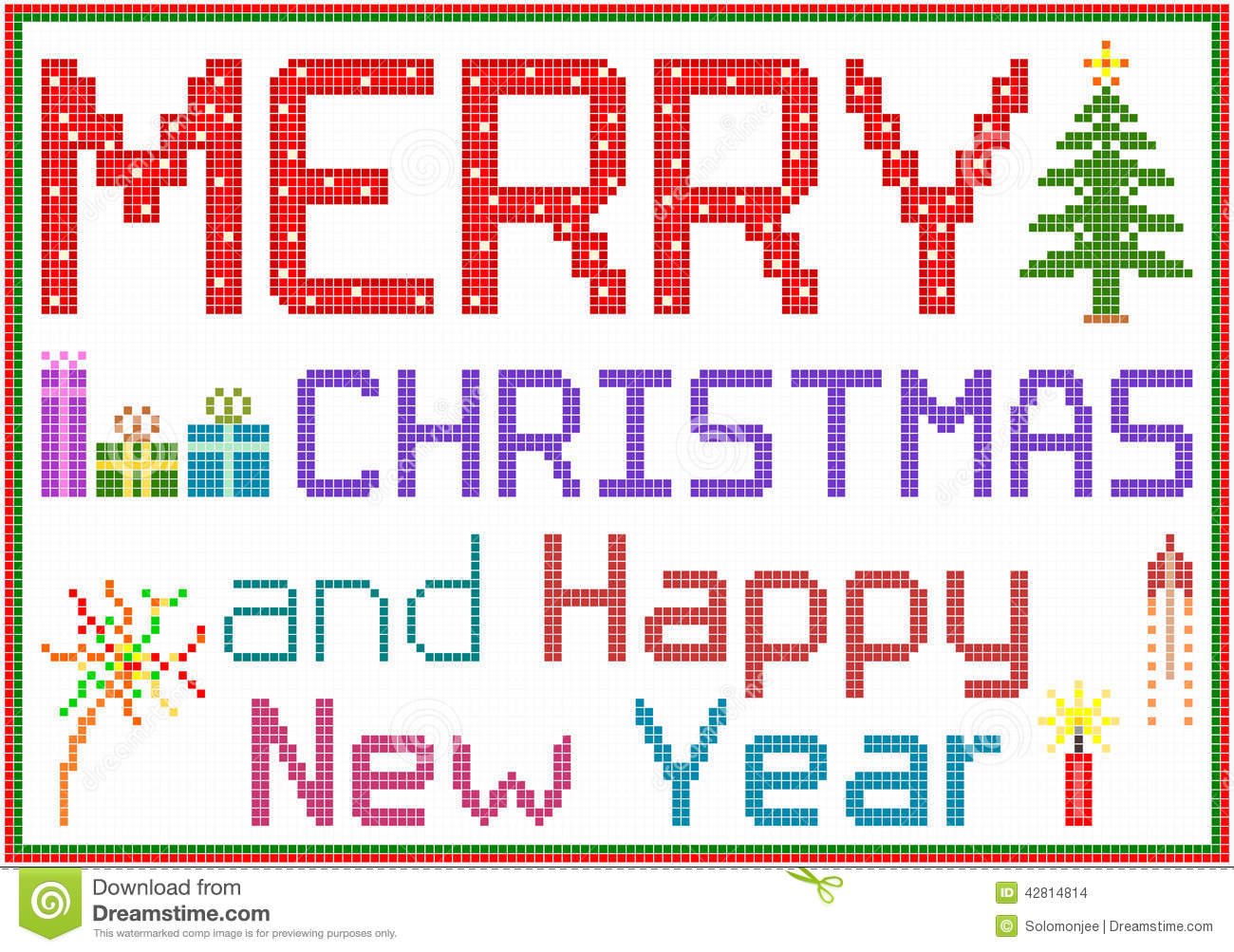 Merry Christmas In Pixels Stock Vector Illustration Of Gift