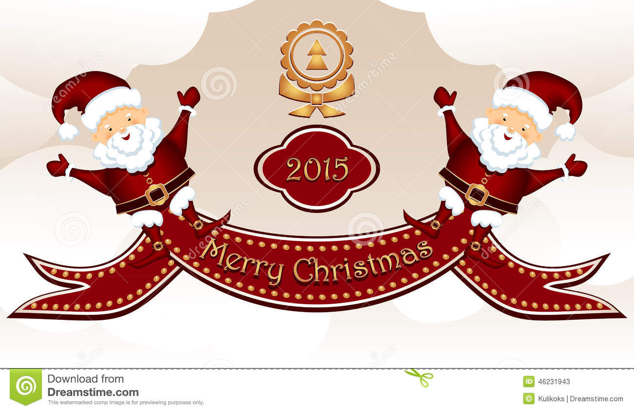 download merry christmas post card with two santa clauses stock vector illustration of banner