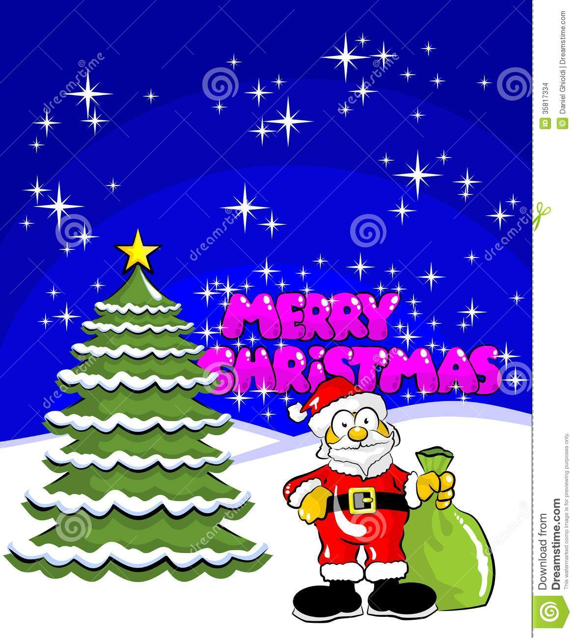 Christmas card with santa claus with a bag of gifts standing in the