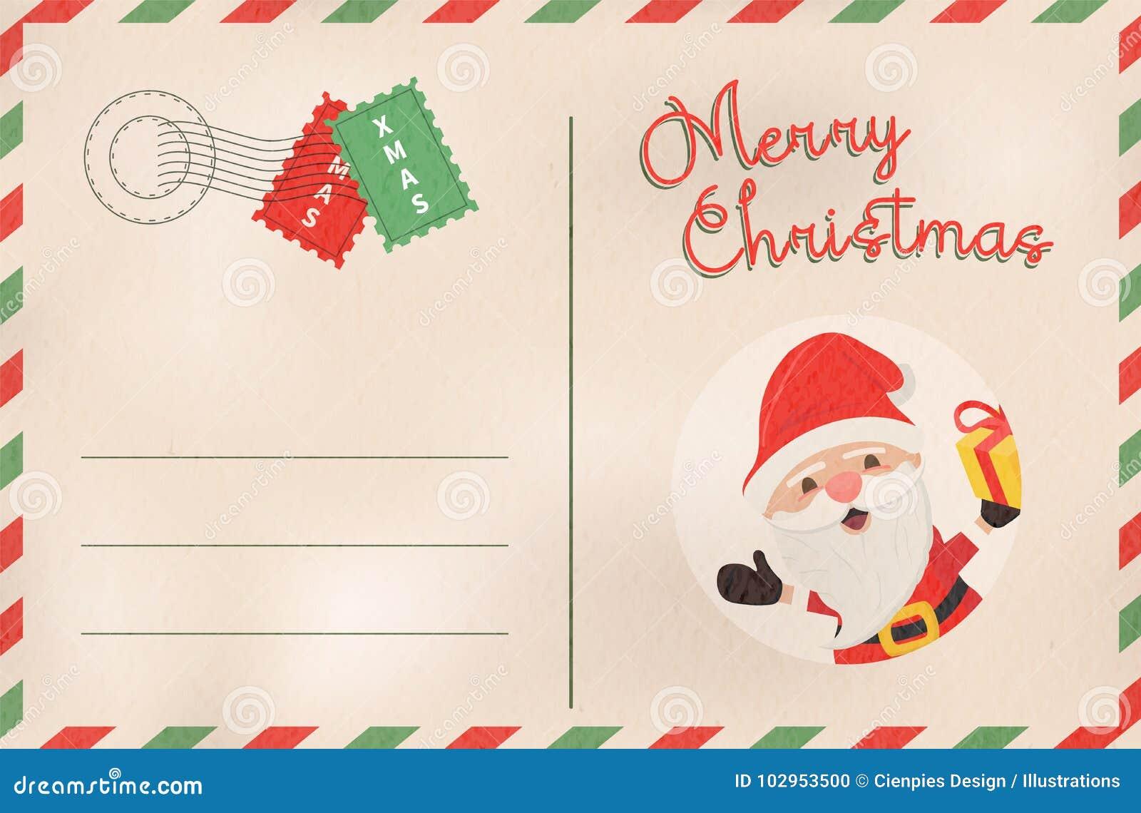 Merry Christmas Retro Santa Claus Holiday Postcard Stock Vector