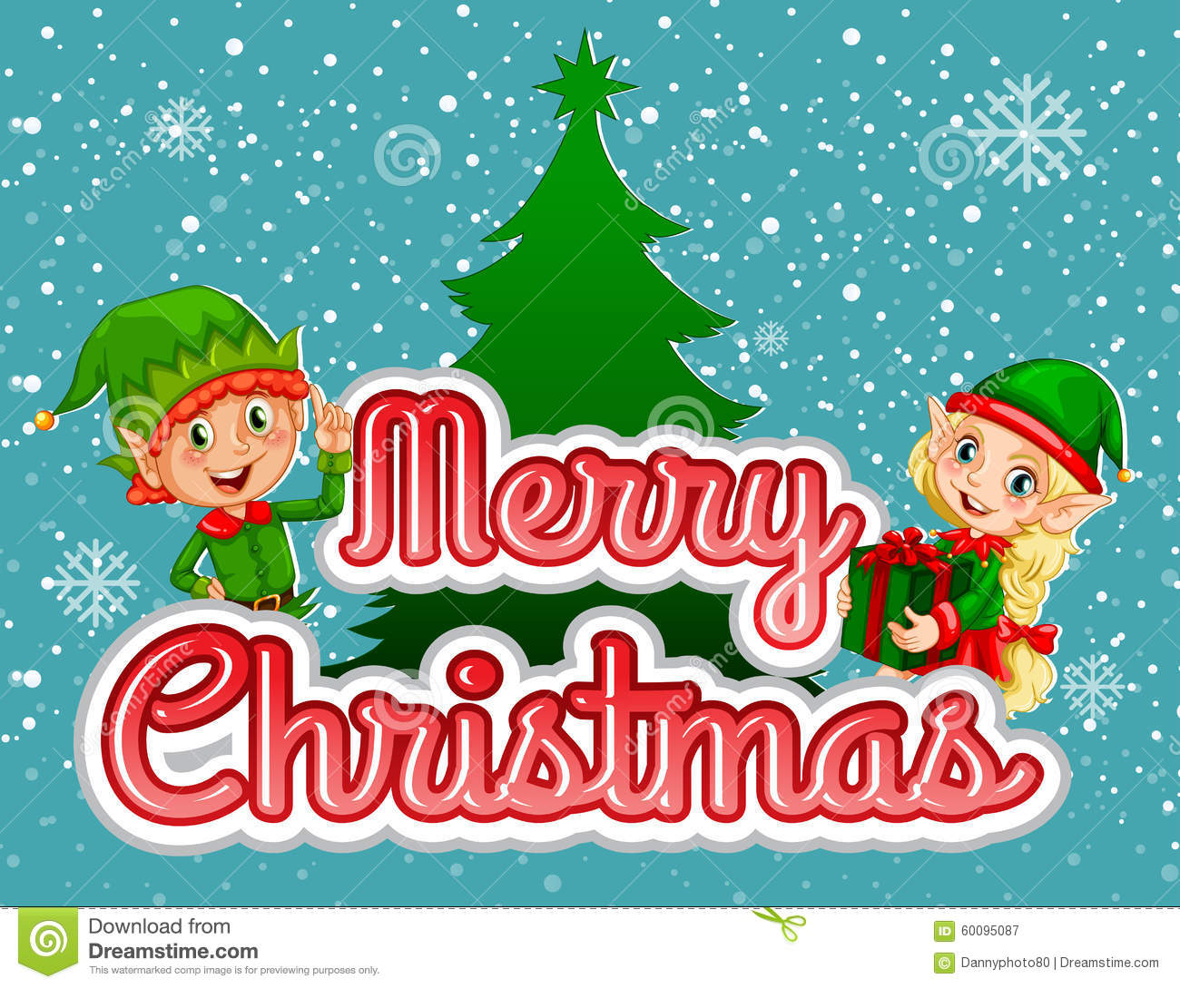 Merry Christmas Poster With Elf And Present Stock Vector - Image ...