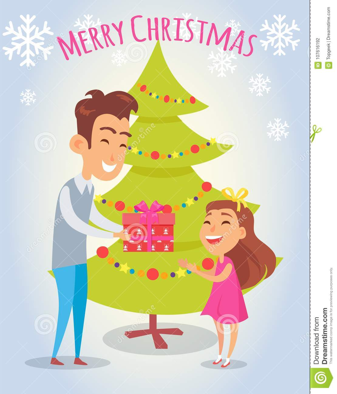 download merry christmas poster with father and daughter stock vector illustration of concept color - Merry Christmas Daughter