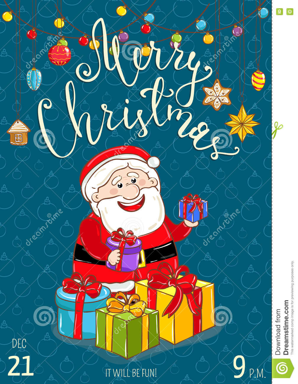 Merry Christmas Poster For Holiday Party Promo Stock Vector ...