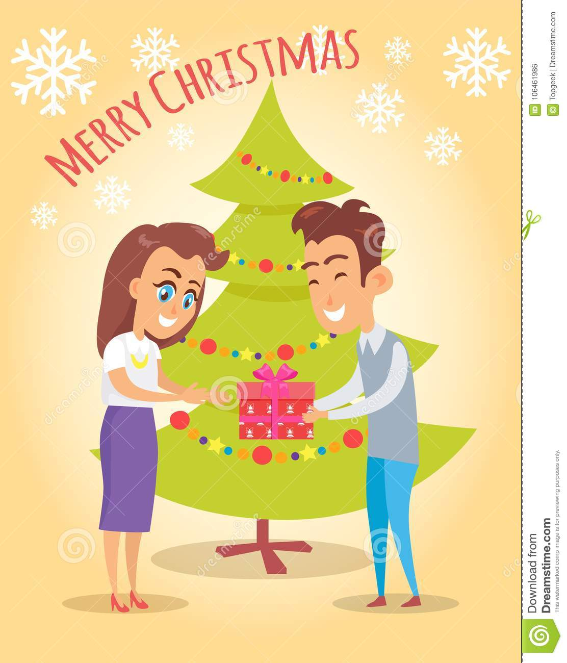 Merry Christmas Poster Husband Give Present Wife Stock Vector ...