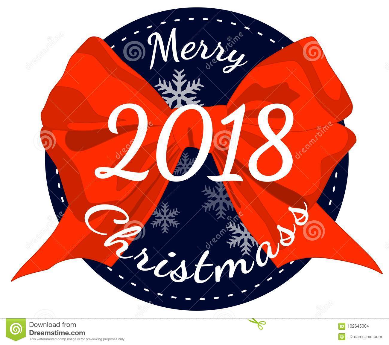 Merry Christmas Poster 2018.Merry Christmas 2018 Poster With Red Ribbon Bow Isolated On