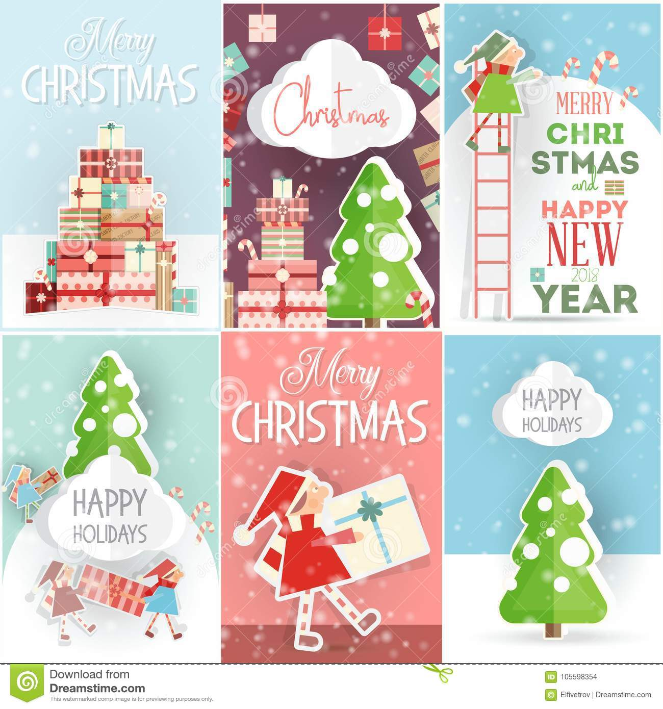 Merry Christmas Posters Set Stock Vector Illustration Of Gift