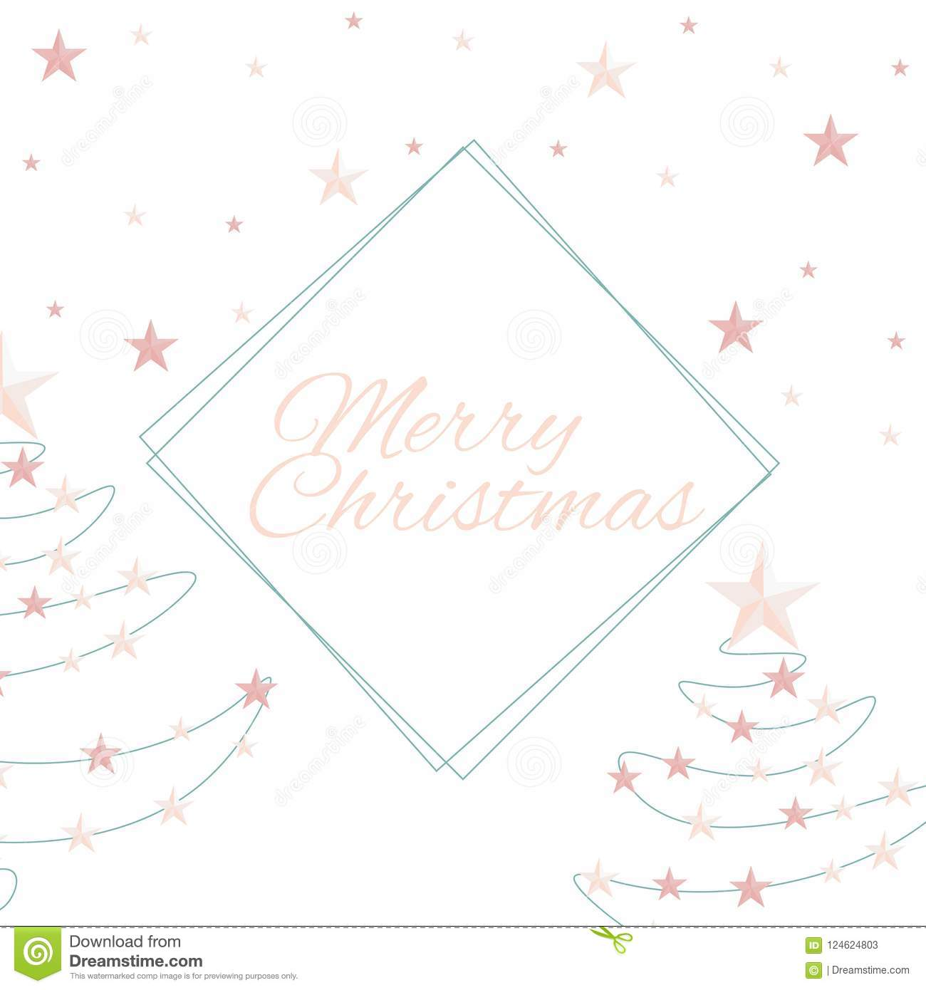 Merry Christmas Quote Vector Text And Stars For Design Greeting