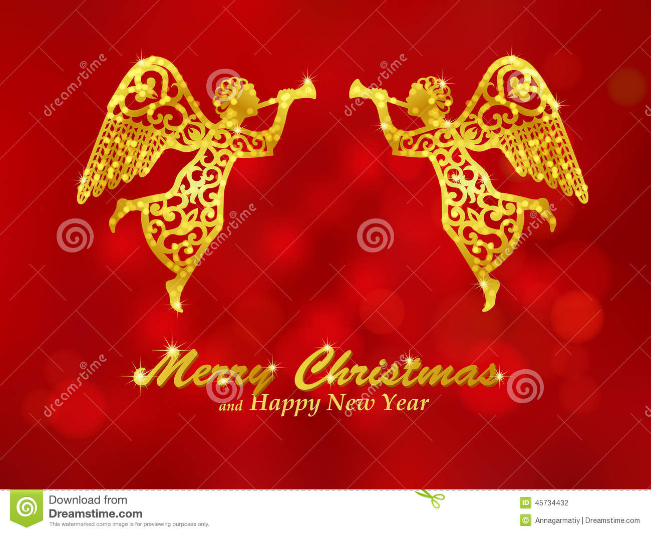 Angels Christmas Background.Merry Christmas Red Background With Angels Stock Vector