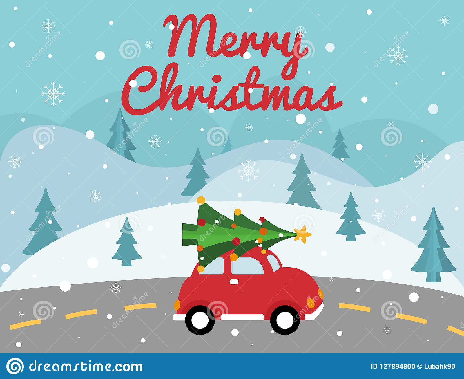 Merry Christmas Red Car With Xmas Tree On The Top. Christmas Card ...