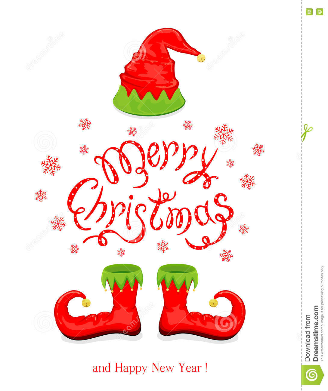Merry Christmas with red hat and shoes elf