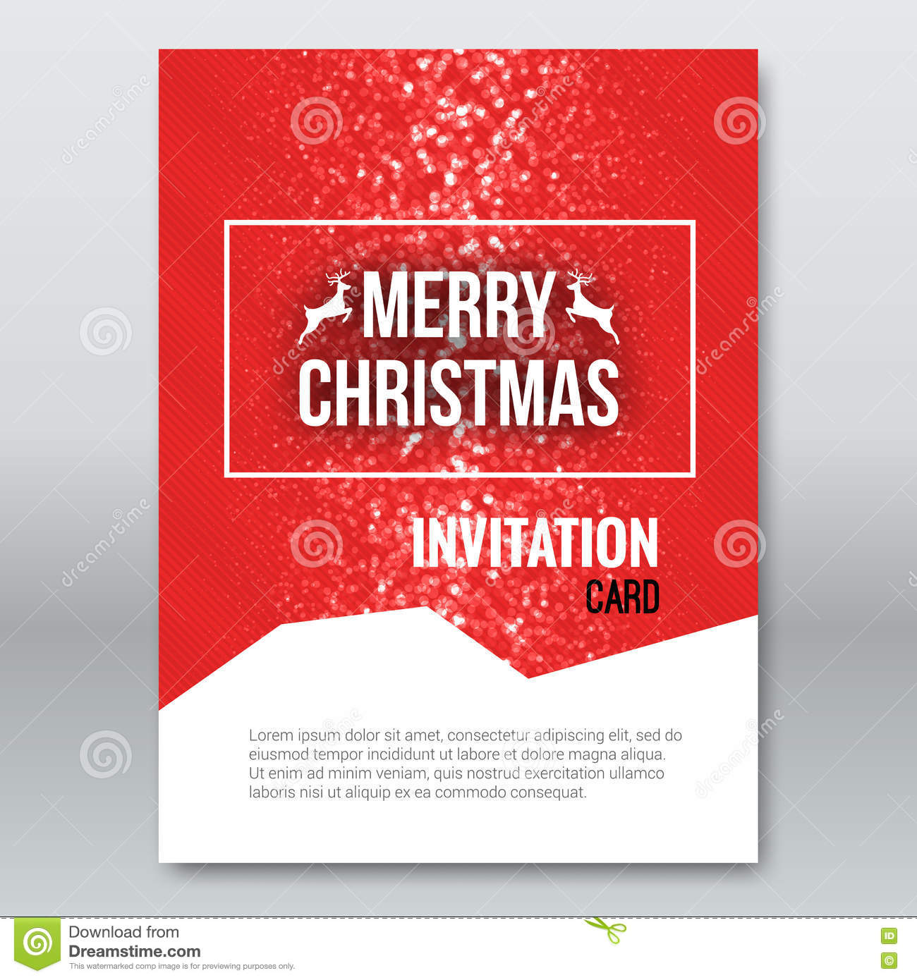 Merry christmas red invitation card design template xmas for Christmas brochure template