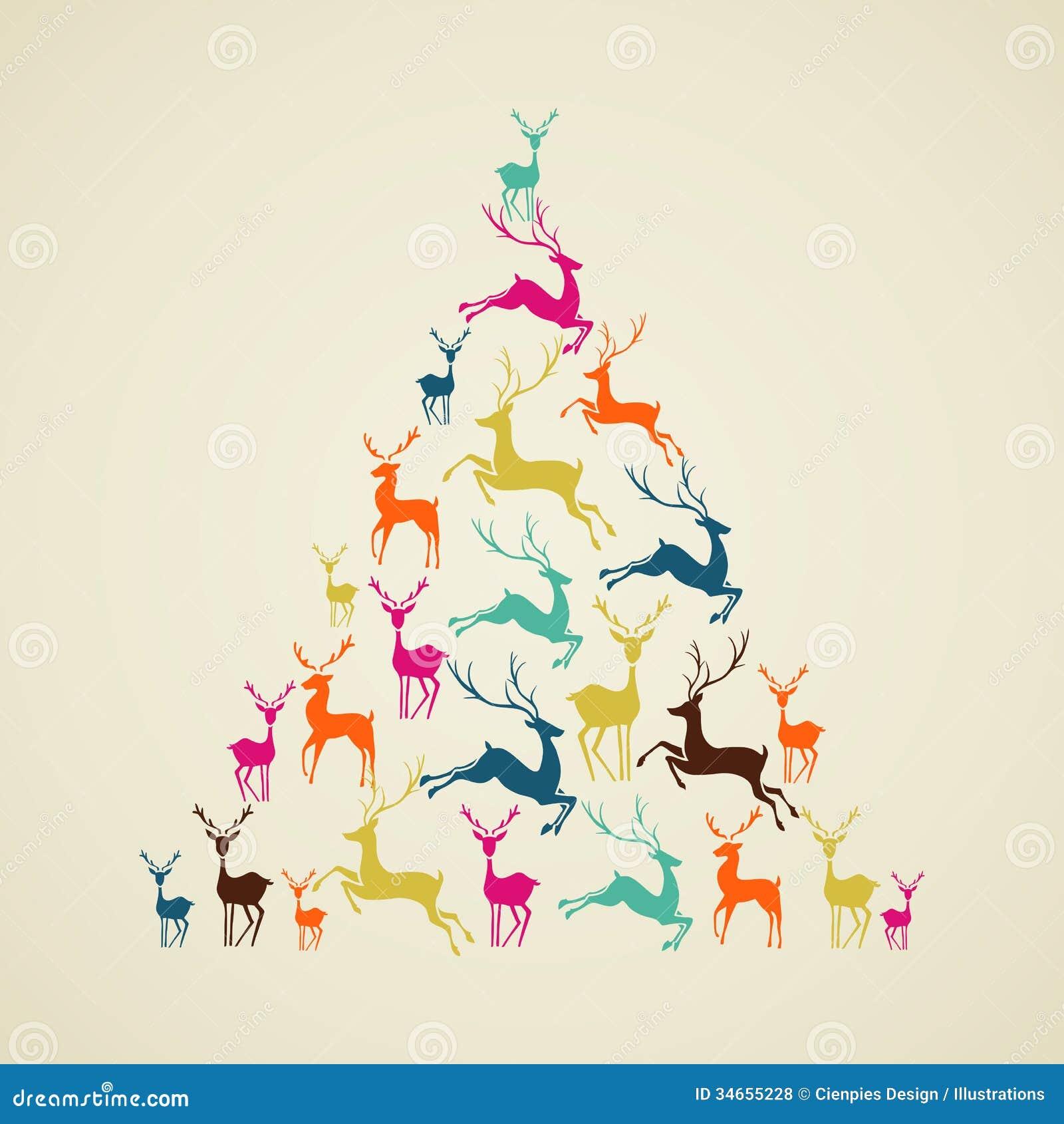 Merry Christmas Reindeer Pine Tree Shape Vector Royalty Free Stock Photos Image 34655228