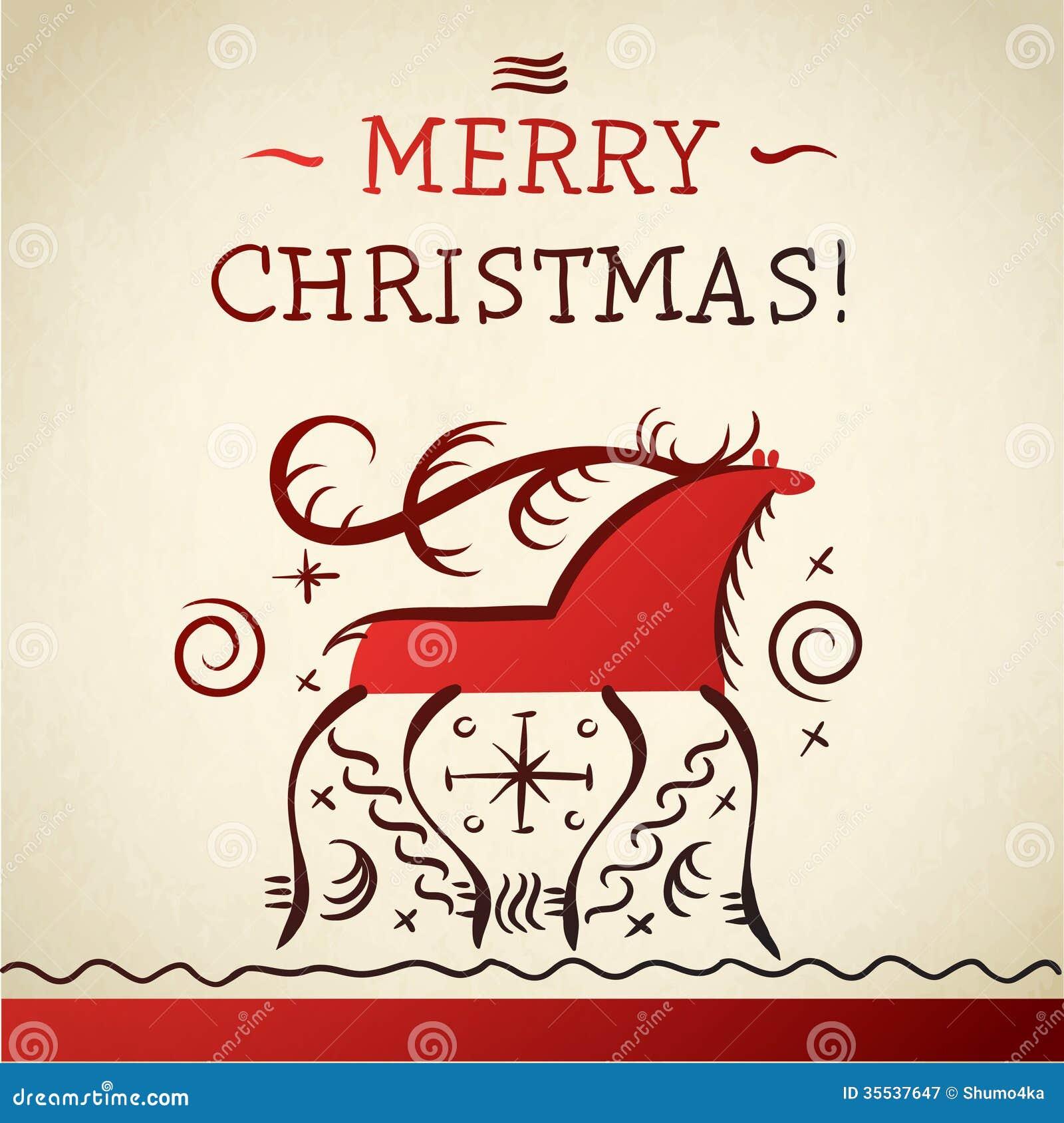Merry Christmas Reindeer. Russian Folk Painting Of Northern ...