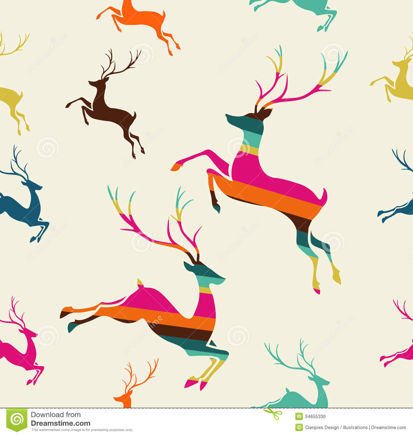 Merry Christmas Reindeer Stripes Seamless Pattern Vector