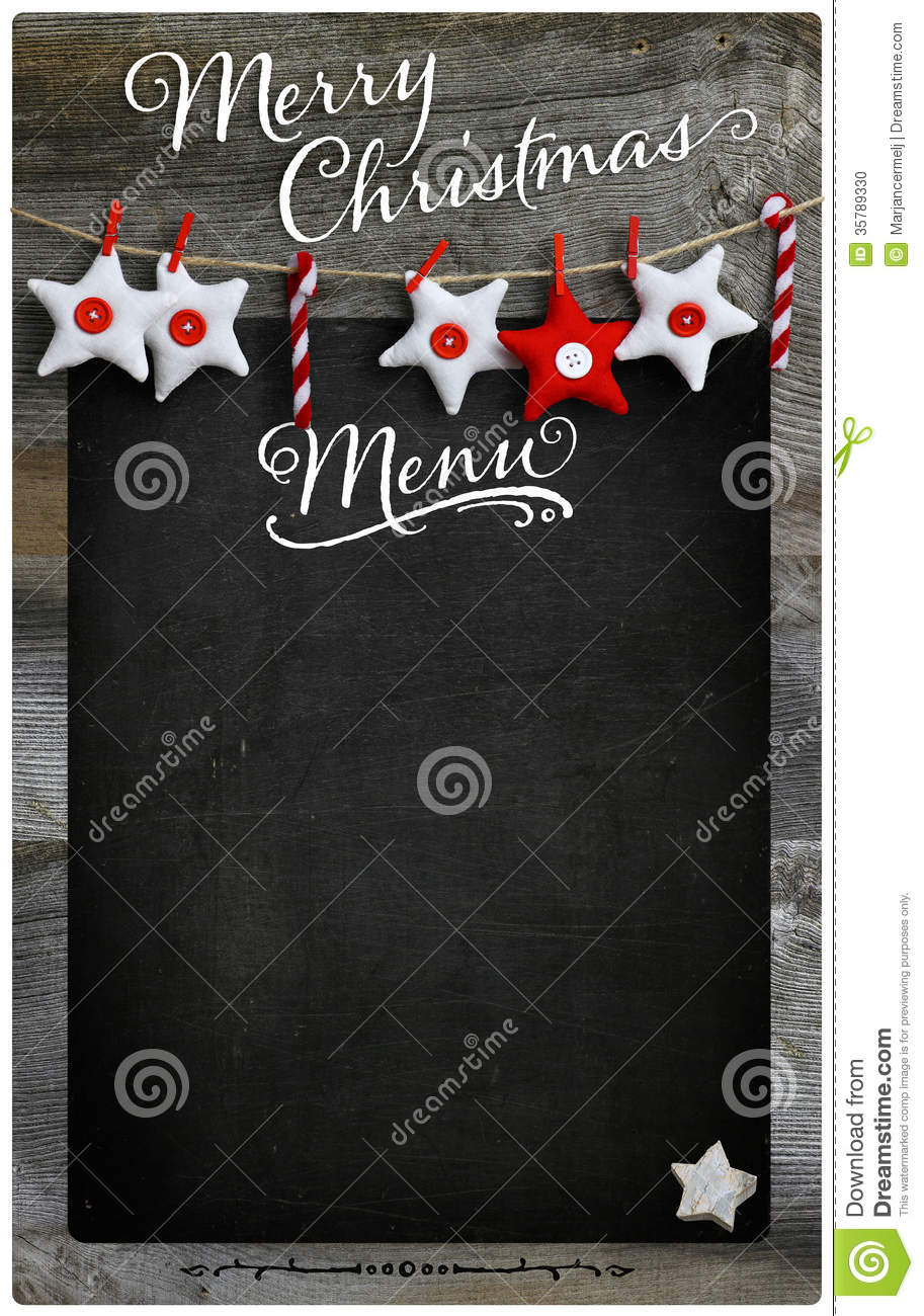 Merry Christmas Restaurant Menu Wooden Blackboard Copy