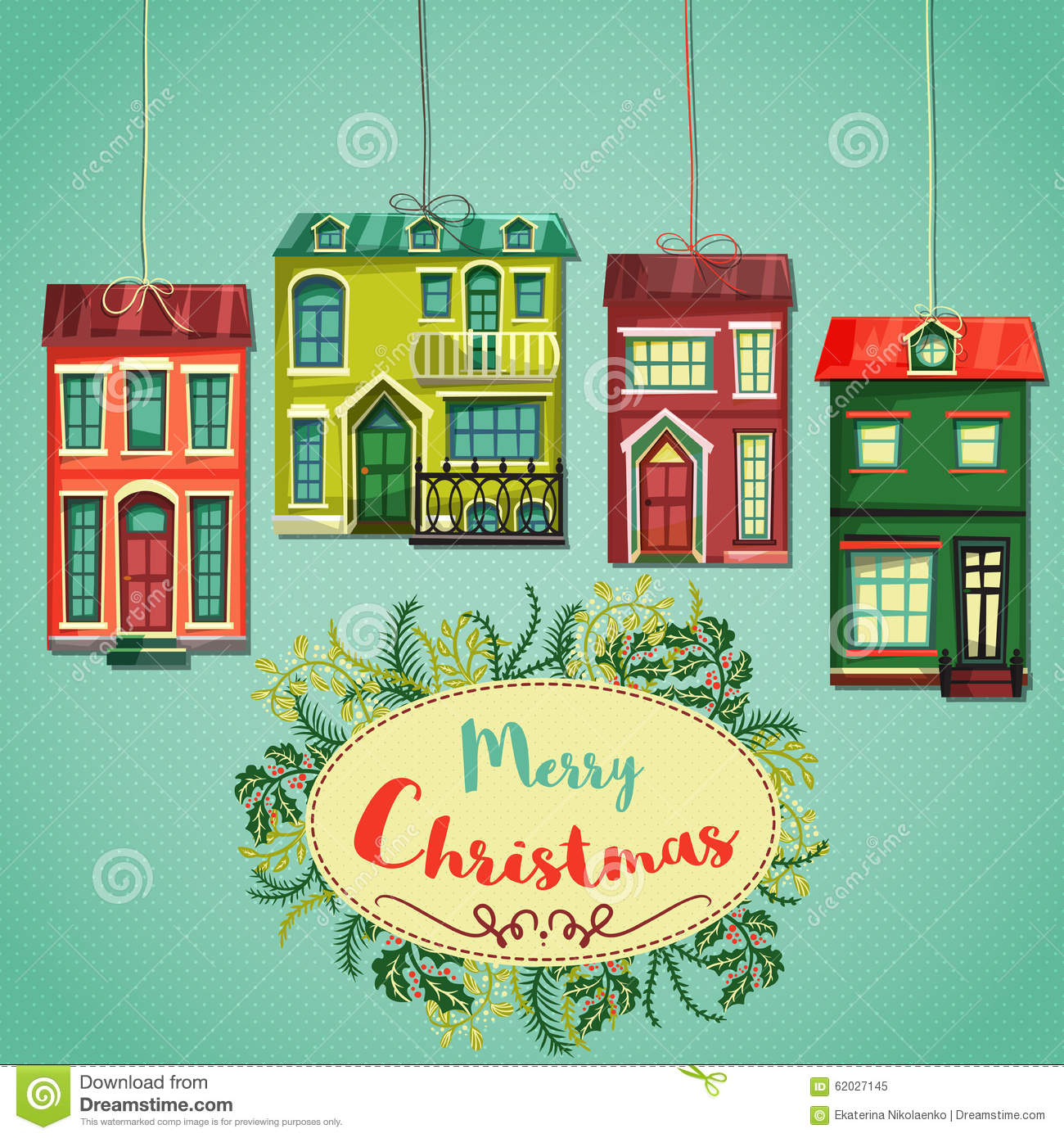merry christmas retro card  vintage cartoon city houses and wreath of christmas plants  stock