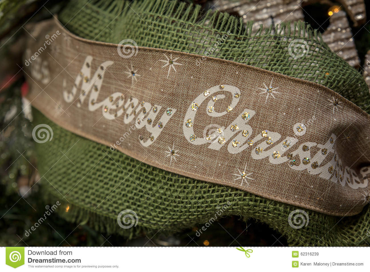 download merry christmas ribbon stock image image of holidays 62316239 - Burlap Christmas Ribbon