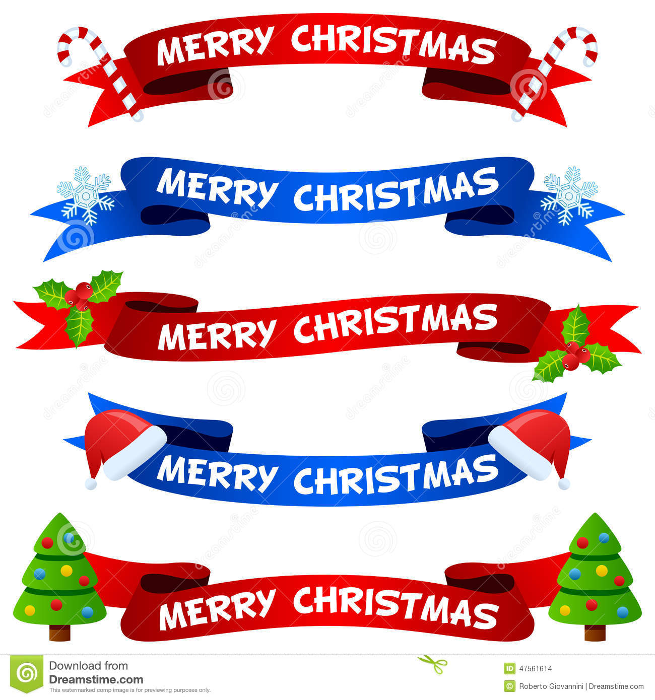 Merry Christmas Ribbon Clipart.Merry Christmas Ribbons Or Banners Set Stock Vector