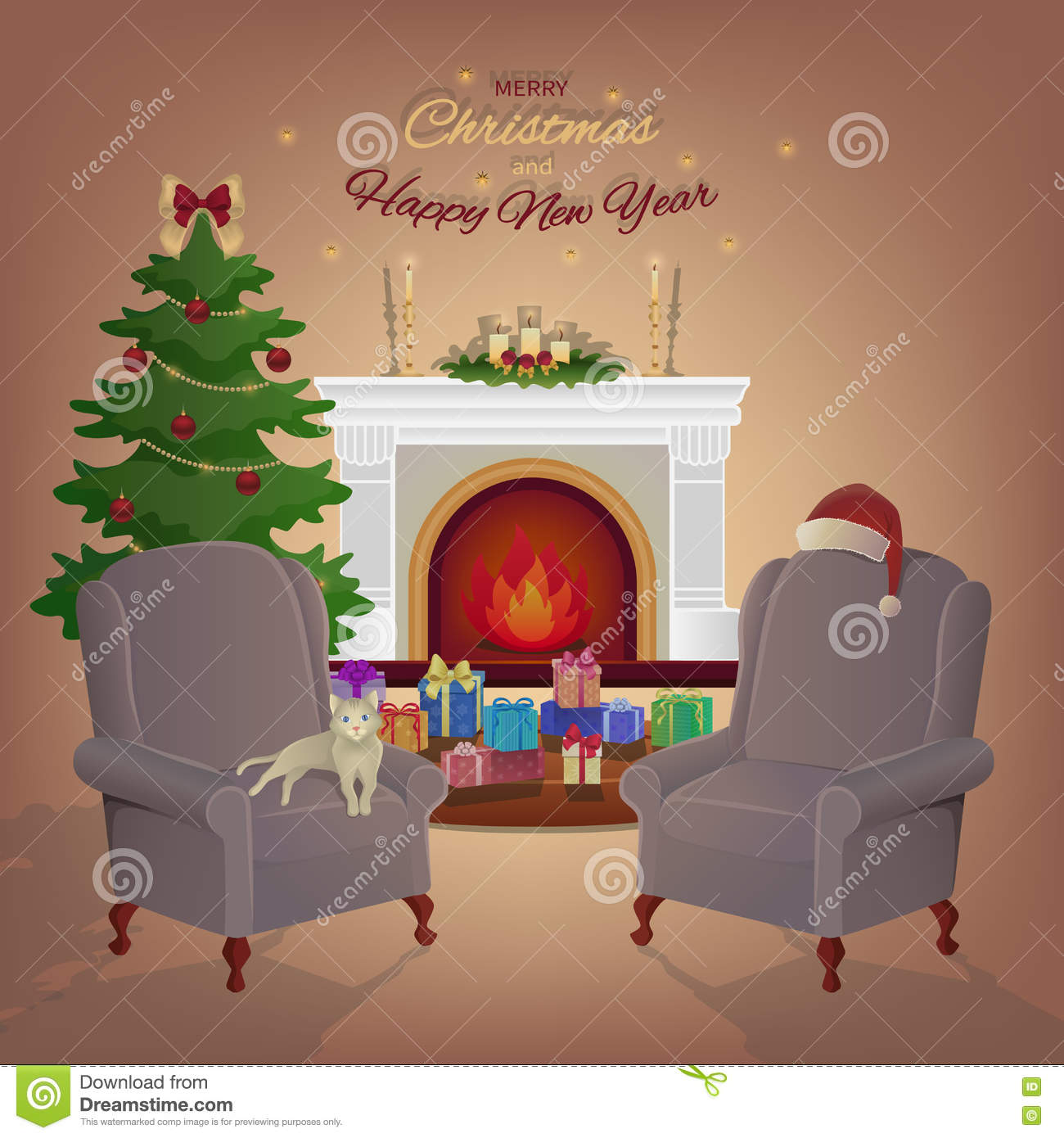 Christmas Room Stock Vector Image Of Illuminated: Merry Christmas Room Interior With A Fireplace, Christmas