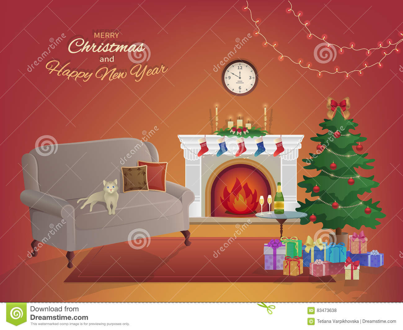 Merry Christmas room interior on a red background with a fireplace, Christmas tree, couch, gift boxes, wall clock. Candles socks