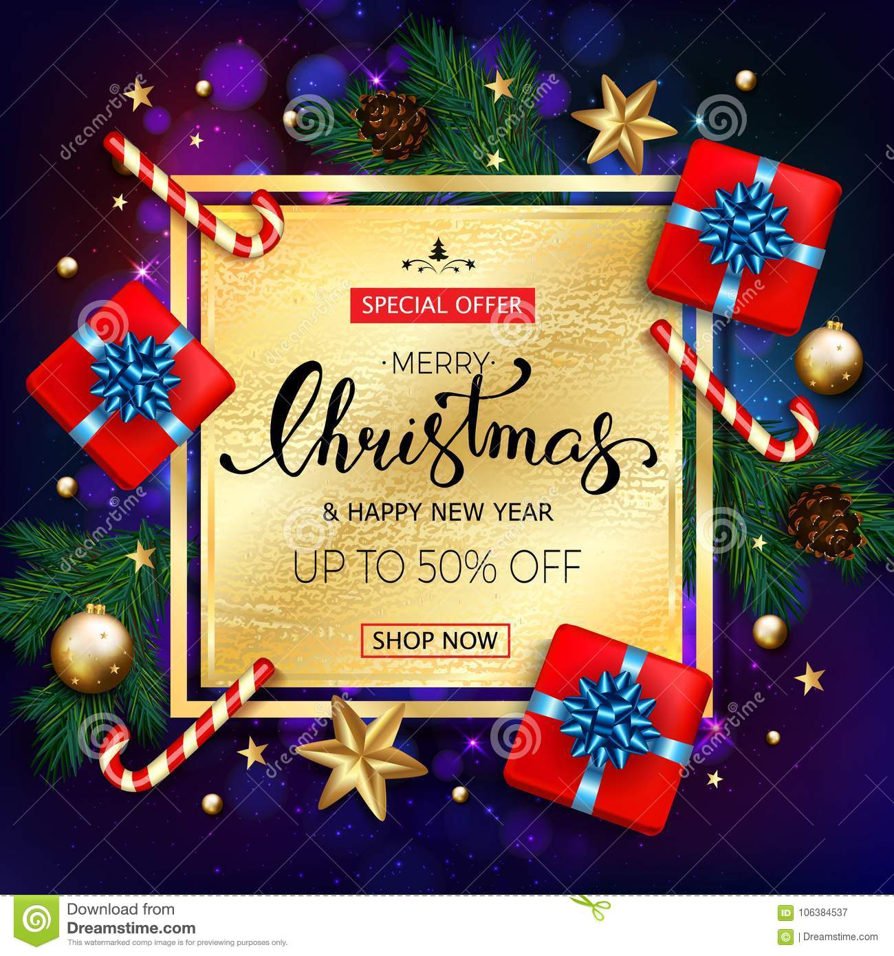 Merry Christmas Sale Banner With Gift Boxes Candy Cane Gold Bu