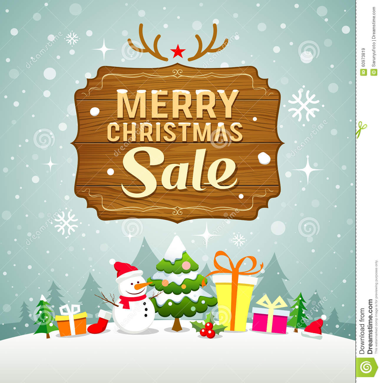 6eebca5f7414 Merry Christmas Sale Concept With Wood Board On Snow Stock Vector ...