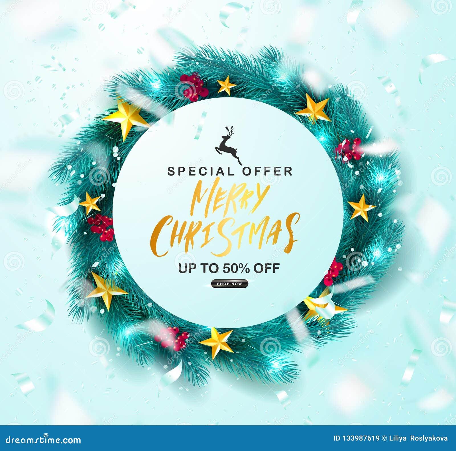 Merry Christmas Sale Poster Green Christmas Wreath With Rowan Golden