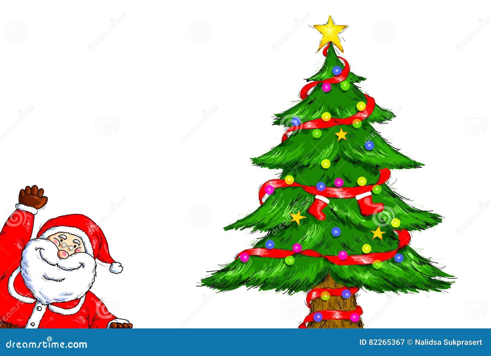 Merry Christmas Santa Claus Christmas Tree Celebration Stock