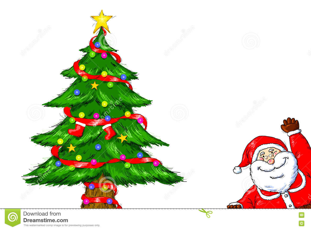 Christmas Celebration Images For Drawing.Merry Christmas Santa Claus Christmas Tree Celebration Stock
