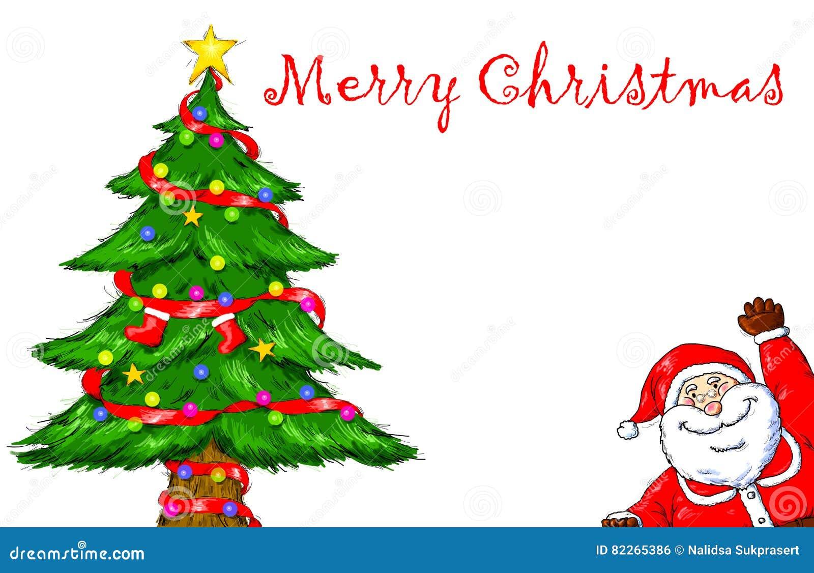 Merry Christmas Santa Claus Tree Celebration Stock
